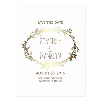 White and Gold Floral Wreath Save the Date Postcard