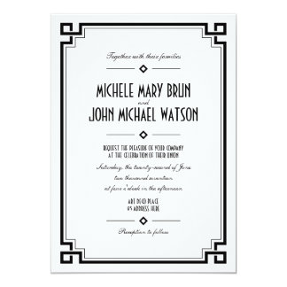 White Art Deco Retro Frame Wedding Invitation