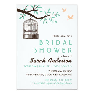 White Bird Cage Rustic Bridal Shower Invitation