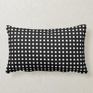 White Check on Black Retro Lumbar Pillow Cushions