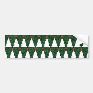 White Christmas Trees on Sparkling Green Bumper Sticker