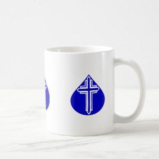 White Cross in Blue Teardrop Basic White Mug