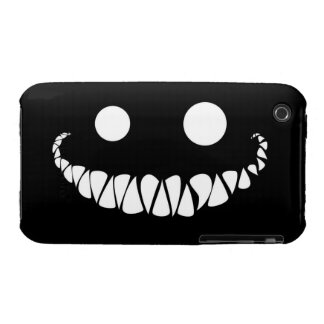 white eyes and teeth on black background iPhone 3 cover