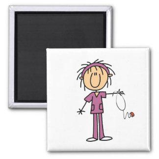 White Female  Stick Figure Nurse T-shirts and Gift Square Magnet