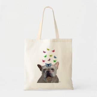White French Bulldog and Butterflies Budget Tote Bag