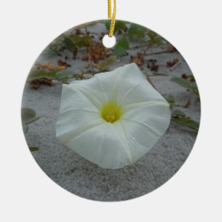 White Morning Glory on the Beach Round Ceramic Decoration