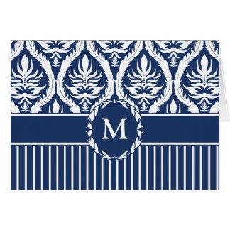 White on Blue Bold Damask Greeting Card