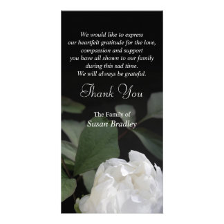White Peony 1 Sympathy Thank You matching stamp Photo Greeting Card