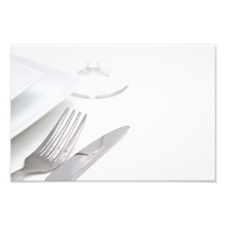 White place setting photograph