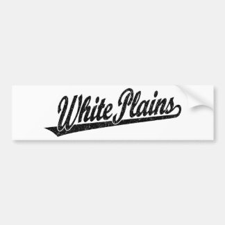White Plains script logo in black distressed Bumper Sticker