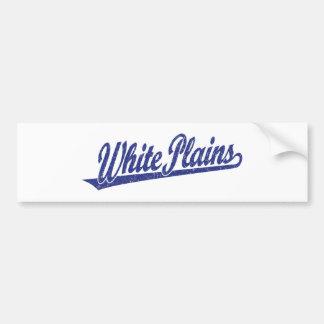 White Plains script logo in blue distressed Bumper Sticker