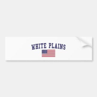 White Plains US Flag Bumper Sticker