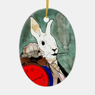 white rabbit ceramic oval decoration