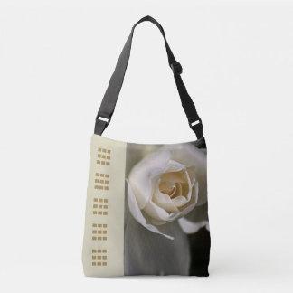 White Rose Design Cross Over Bag Tote Bag