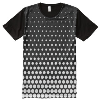 White Techno Dots Modern Black All-Over Print T-Shirt