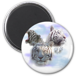 White Tigers 6 Cm Round Magnet