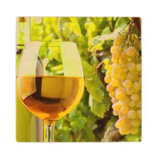 White Wine And Grapes Maple Wood Coaster