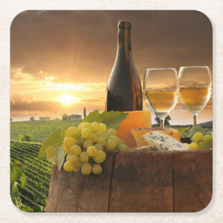 White Wine With Barrel On Vineyard In Chianti Square Paper Coaster