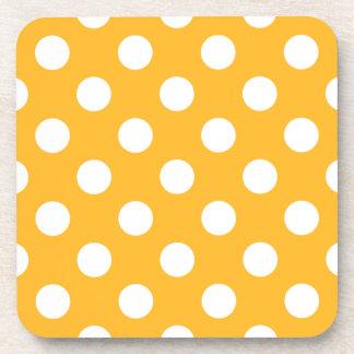 Whitle polka dots on yellow beverage coaster