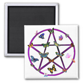 Wiccan Star and Butterflies Square Magnet
