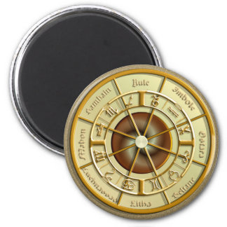 Wiccan Wheel of the Year 6 Cm Round Magnet