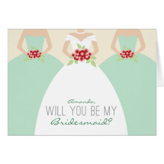 Will You Be My Bridesmaid Card (mint green)