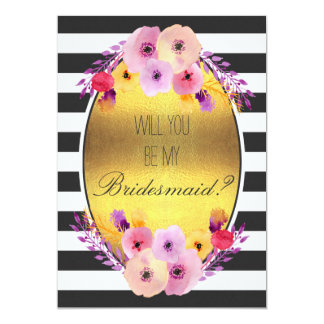 Will You Be My Bridesmaid Colorful Flowers on Gold 13 Cm X 18 Cm Invitation Card