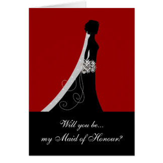 Will You Be My Maid of Honour? Cards Red