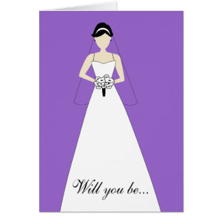 Will You Be My Maid of Honour? Purple Note Card