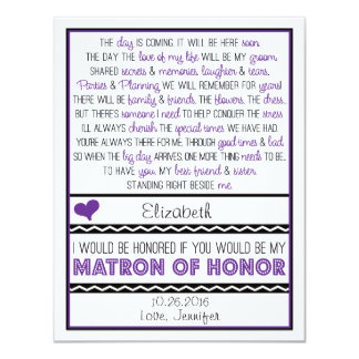 Will you be my Matron of Honor? Purple/Black Poem 11 Cm X 14 Cm Invitation Card