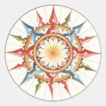 wind rose, compass round sticker