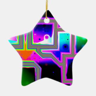 Window into the Universe– Magenta & Cyan Intersect Ceramic Star Decoration