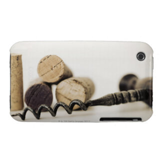 Wine corks with corkscrew iPhone 3 cases