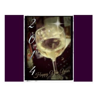 Wine Glass 2014 Happy New Year Postcard