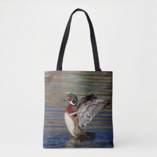 Wing Flapping Wood Duck Tote Bag