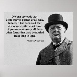 Winston Churchill Democracy Quote Poster