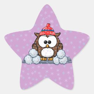 winter owl star sticker