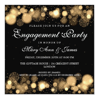 Winter Wedding Engagement Party Gold Lights 13 Cm X 13 Cm Square Invitation Card