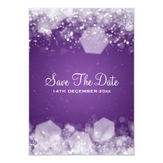 Winter Wedding Sparkling Night Purple 13 Cm X 18 Cm Invitation Card