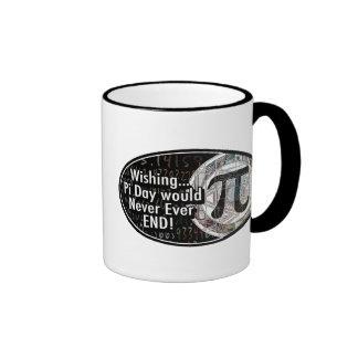 Wishing Pi Day Would Never End Ringer Mug