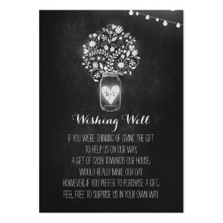 Wishing Well Floral Rustic Mason Jar Chalk Pack Of Chubby Business Cards