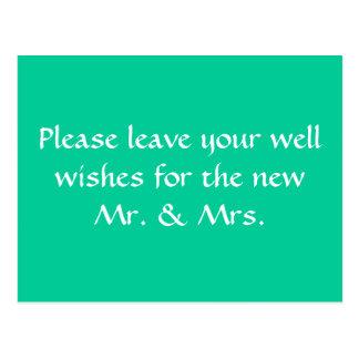 wishing well sign postcard