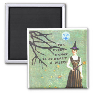 witch collage square magnet