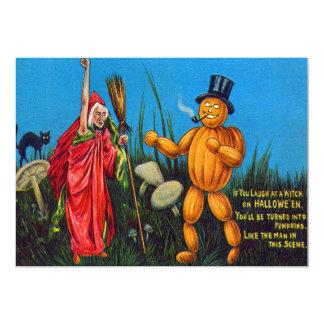 Witch Spell Jack O' Lantern Pumpkin Black Cat 13 Cm X 18 Cm Invitation Card