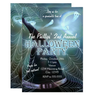 Witches Ghostly Night Halloween Party Invitations
