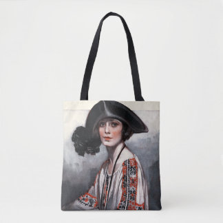 Woman in Embroidered Blouse Tote Bag
