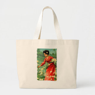 Woman picking flowers jumbo tote bag