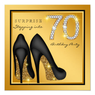 Womans Surprise 70th Birthday Party 13 Cm X 13 Cm Square Invitation Card