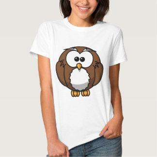Women's Basic T-Shirt, Luner White with owl design T Shirts