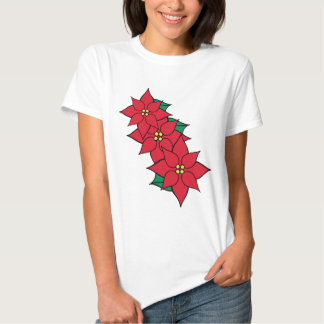 Women's Christmas Poinsettia Holiday T-Shirt Top
